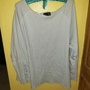 LIGHT BLUE VENEZIA LONG BELL SLEEVE TOP
